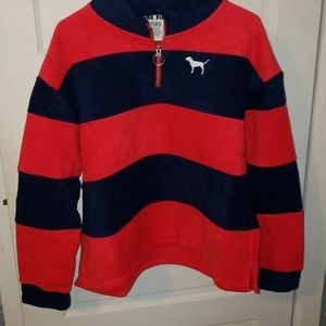 Nwot polar fleece Pink rugby sweater